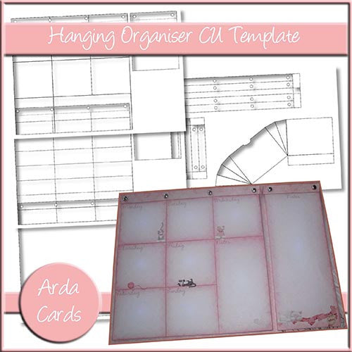Hanging Organiser And Note Pad CU Template - The Printable Craft Shop