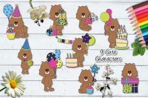Happy Birthday Squishy Bear CU Clipart