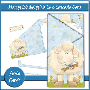 Happy Birthday To Ewe Cascade Card - The Printable Craft Shop