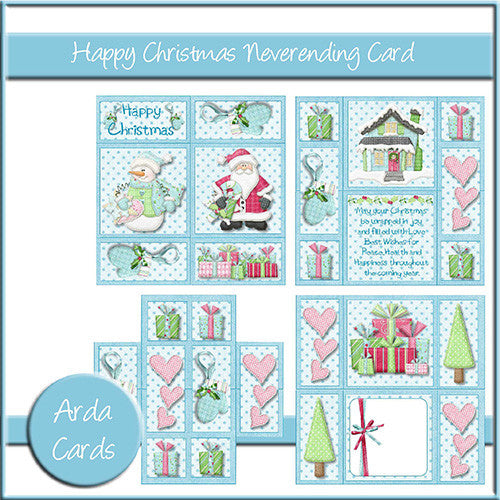Happy Christmas Neverending Card - The Printable Craft Shop