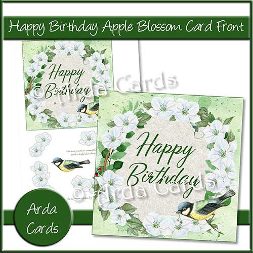 Happy Birthday Apple Blossom Card Front - The Printable Craft Shop