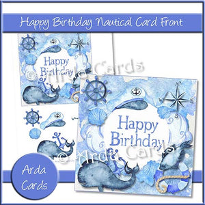 Happy Birthday Nautical Card Front - The Printable Craft Shop