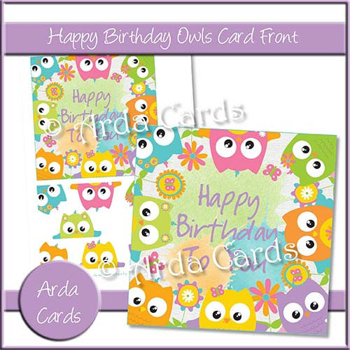Happy Birthday Owls Card Front - The Printable Craft Shop