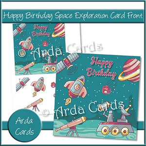 Happy Birthday Space Exploration Card Front - The Printable Craft Shop