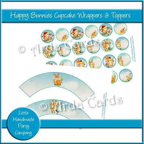 Happy Bunnies Cupcake Wrappers & Toppers