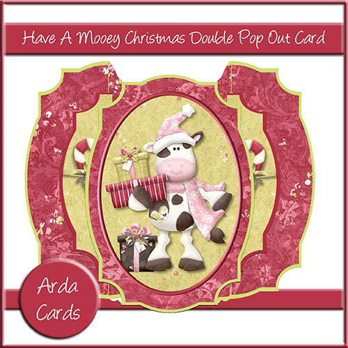 Have A Mooey Christmas Double Pop Out Card - The Printable Craft Shop