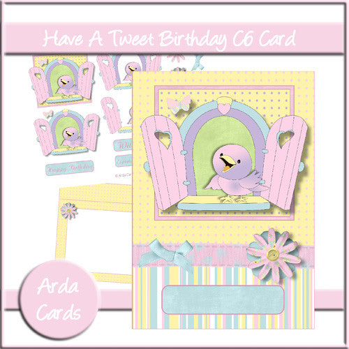 Have A Tweet Birthday C6 Card - The Printable Craft Shop