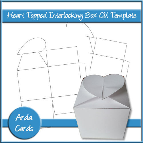 Heart Topped Interlocking Box CU Template - The Printable Craft Shop