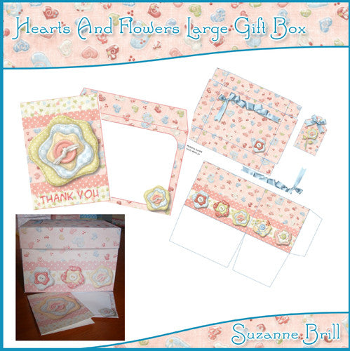 Hearts And Flowers Large Gifts Box - The Printable Craft Shop