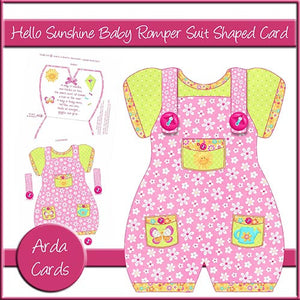 Hello Sunshine Baby Romper Suit Shaped Card - The Printable Craft Shop