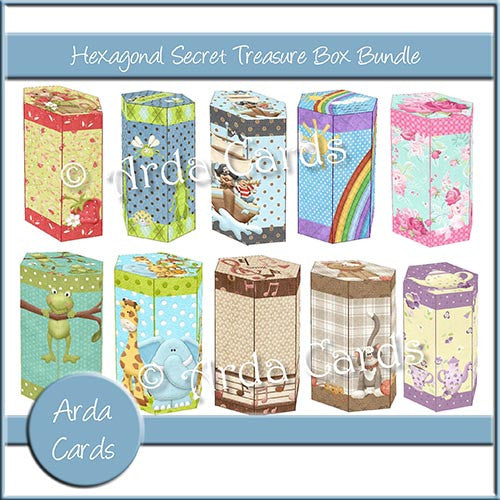 Hexagonal Secret Treasure Box Bundle - The Printable Craft Shop
