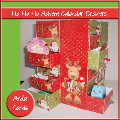Ho Ho Ho Advent Calendar Drawers - The Printable Craft Shop