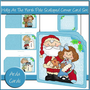Holly At The North Pole Scalloped Corner Card Set - The Printable Craft Shop
