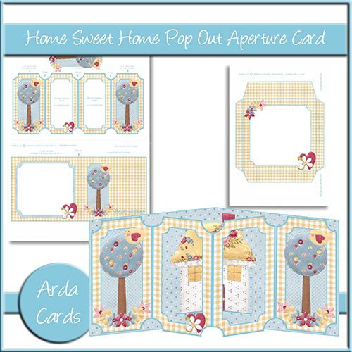 Home Sweet Home Pop Out Aperture Card - The Printable Craft Shop
