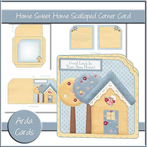 Home Sweet Home Scalloped Corner Card - The Printable Craft Shop