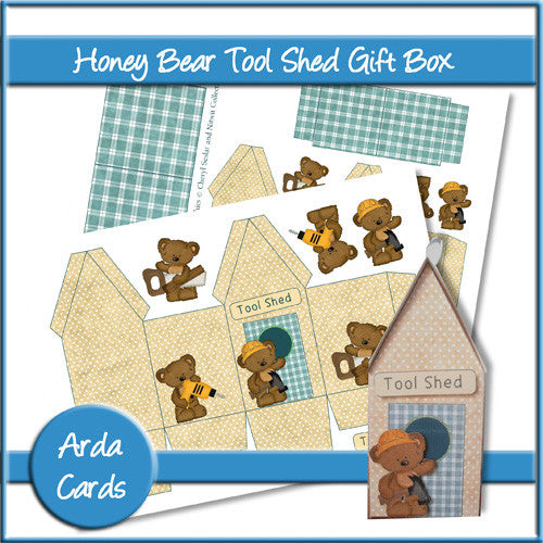 Honey Bear Tool Shed Gift Box - The Printable Craft Shop