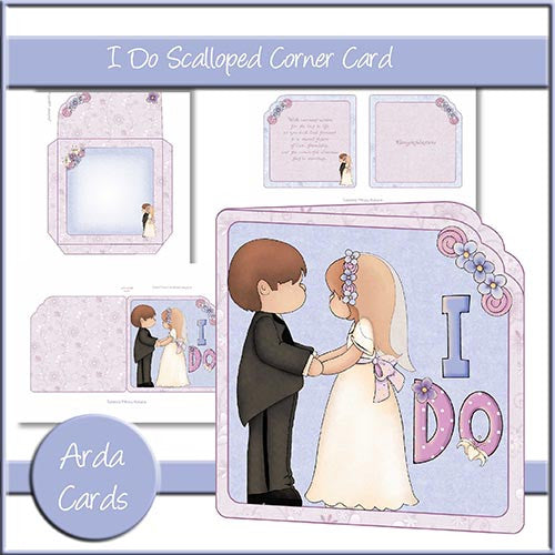 I Do Scalloped Corner Card - The Printable Craft Shop