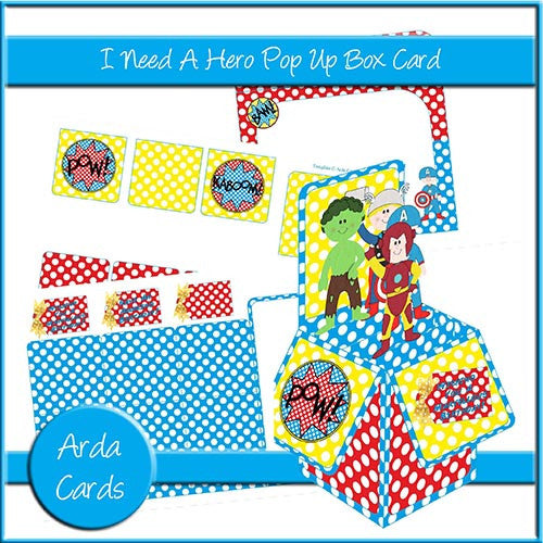 I Need A Hero Pop Up Box Card - The Printable Craft Shop