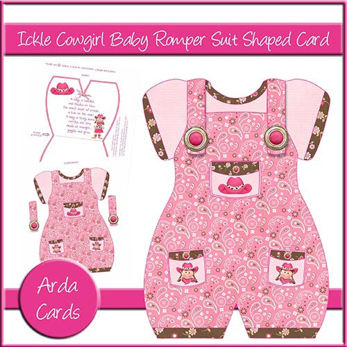 Ickle Cowgirl Baby Romper Suit Shaped Card - The Printable Craft Shop
