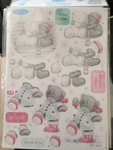 Me to You Winter Wonderland A4 Glittered Decoupage Pack Winter Friends