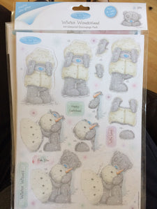 Me to You Winter Wonderland A4 Glittered Decoupage Pack