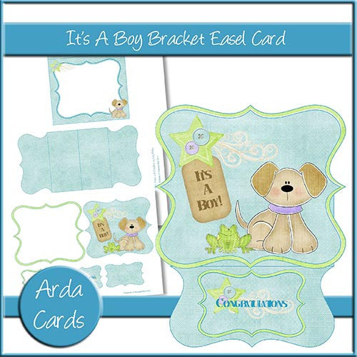 It's A Boy Bracket Easel Card - The Printable Craft Shop