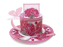 Load image into Gallery viewer, 3D Teacup, Saucer and Spoon  - January Birth Flower & Gem Printables