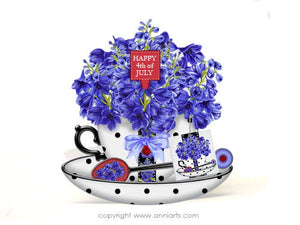 July Birth Flower Printable Teacup Card Kit with Delphiniums and Rubies
