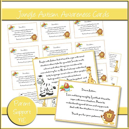 Jungle Autism Awareness Cards - The Printable Craft Shop