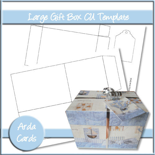 Large Gift Box CU Template - The Printable Craft Shop