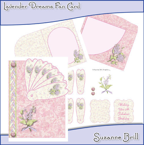 Lavender Dreams Fan Card - The Printable Craft Shop
