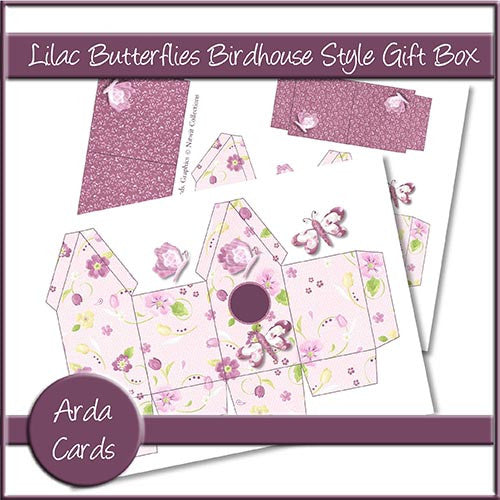 Lilac Butterfly Birdhouse Style Gift Boxes - The Printable Craft Shop