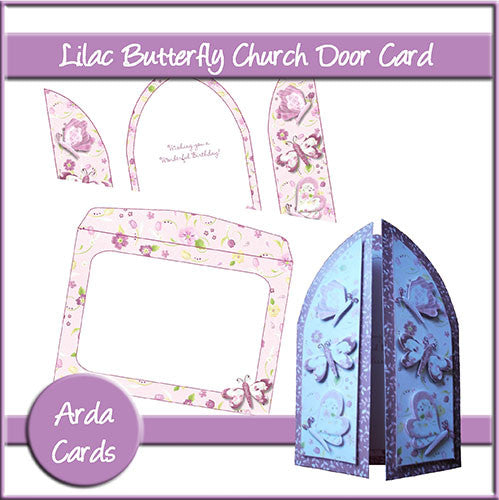 Lilac Butterfly Church Door Card - The Printable Craft Shop