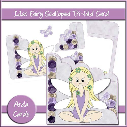 Lilac Fairy Scalloped Trifold Card - The Printable Craft Shop