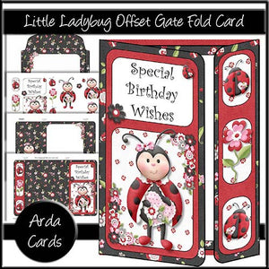 Little Lady Bug Offset Gate Fold Card - The Printable Craft Shop