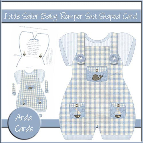 Little Sailor Baby Romper Suit Shaped Card - The Printable Craft Shop