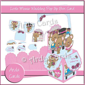 Little Mouse Wedding Day Pop Up Box Card - The Printable Craft Shop