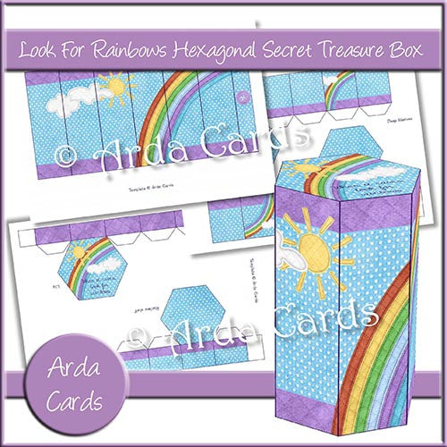 Look For Rainbows Hexagonal Secret Treasure Box - The Printable Craft Shop