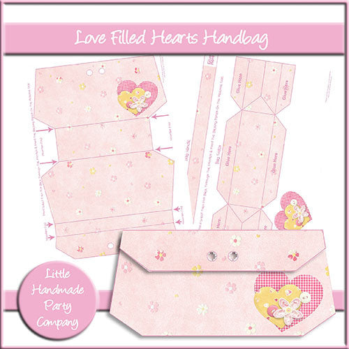 Loved Filled Hearts Handbag - The Printable Craft Shop