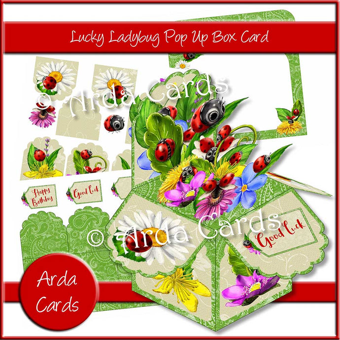 printable pop up box kit with ladybirds for instant download