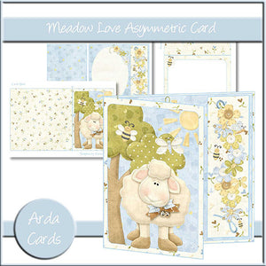 Meadow Love Asymmetric Card - The Printable Craft Shop