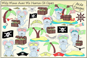 Milly Mouse Avast Me Hearties CU Clipart