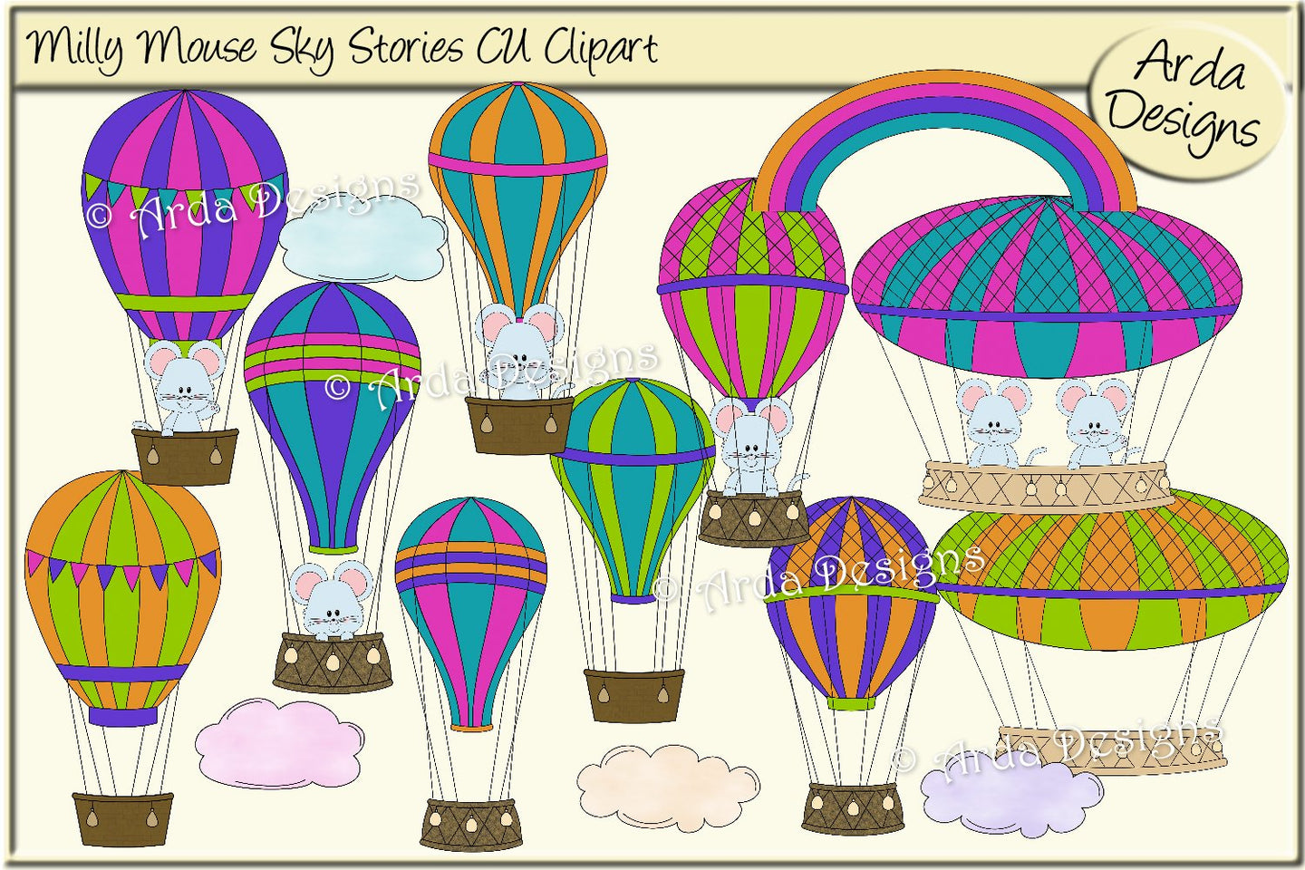 Milly Mouse Sky Stories CU Clipart