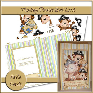 Monkey Pirates Box Card - The Printable Craft Shop