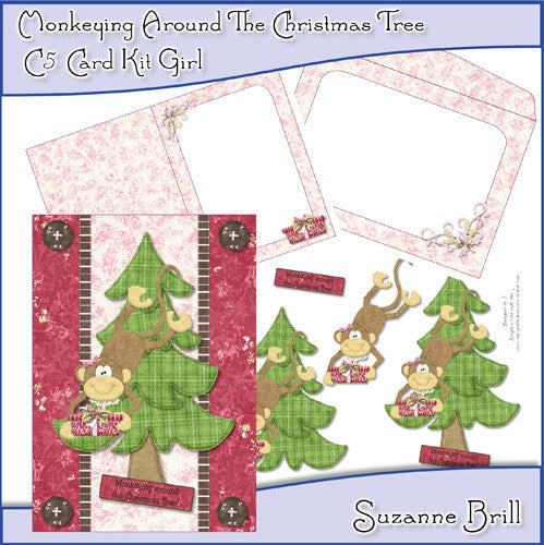 Monkeying Around The Christmas Tree C5 Card Kit - The Printable Craft Shop