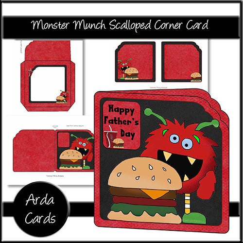 Monster Munch Scalloped Corner Card - The Printable Craft Shop