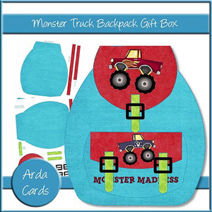 Monster Truck Backpack Gift Box - The Printable Craft Shop