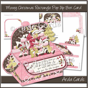 Mooey Christmas Rectangle Pop Up Box Card Printable