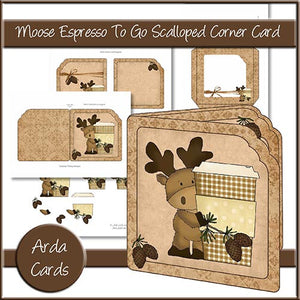 Moose Espresso To Go Scalloped Corner Card - The Printable Craft Shop