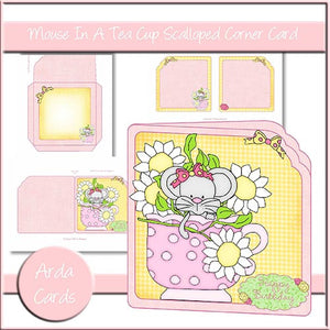 Mouse In A Teacup Scalloped Corner Card - The Printable Craft Shop